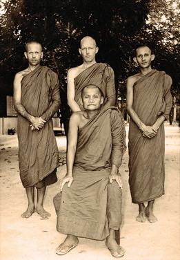 Ajahn  Chah with three first western monk-disciples.